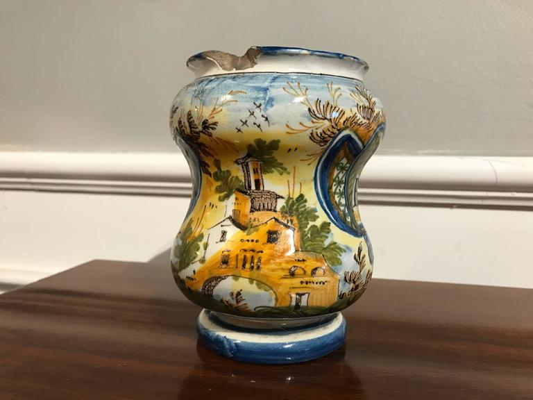 18th Century Italian Waisted Albarello In Good Condition For Sale In Stamford, CT