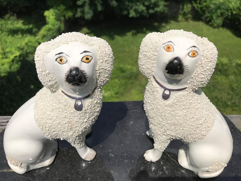 Fine pair of English Staffordshire porcelain spaniels with the endearing bewildered expressions that make the better quality examples most appealing. A particularly charming pair.
