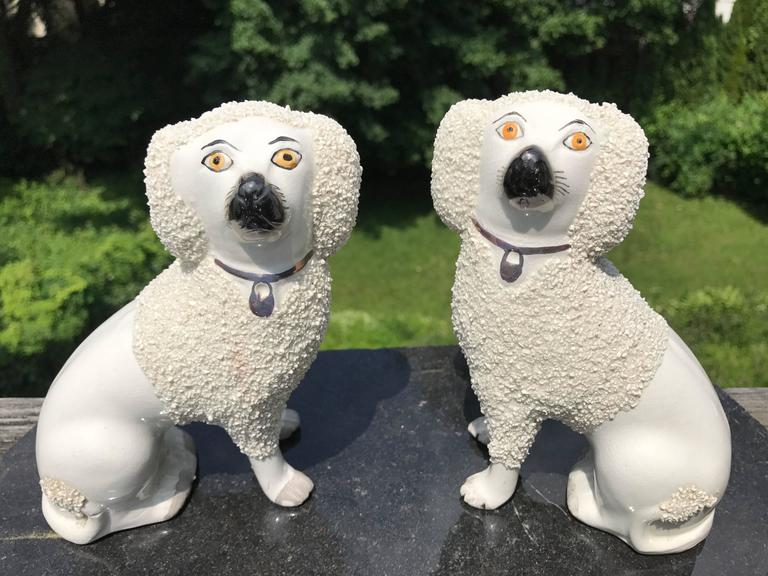 19th Century Pair English Staffordshire Spaniels For Sale