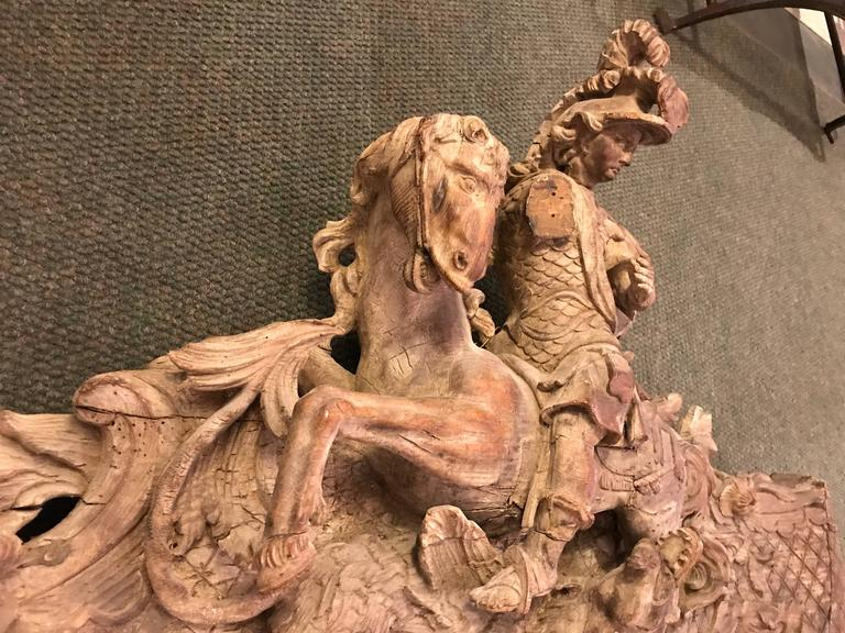18th Century French Rococo Carving of St George and the Dragon, Large-Scale For Sale