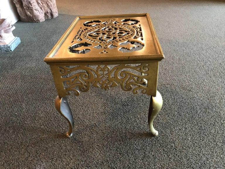 English Regency Brass Footman Side Table For Sale 3