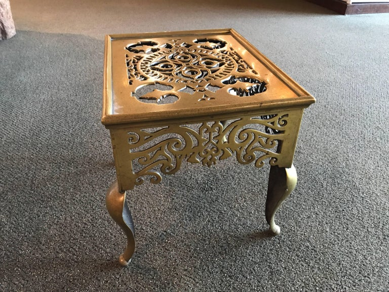 English Regency Brass Footman Side Table For Sale 1