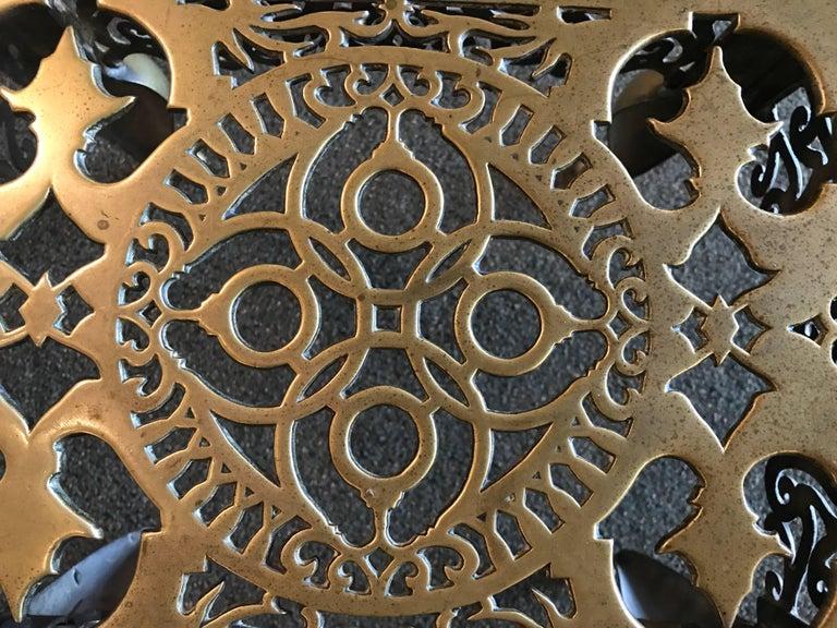 19th Century English Regency Brass Footman Side Table For Sale
