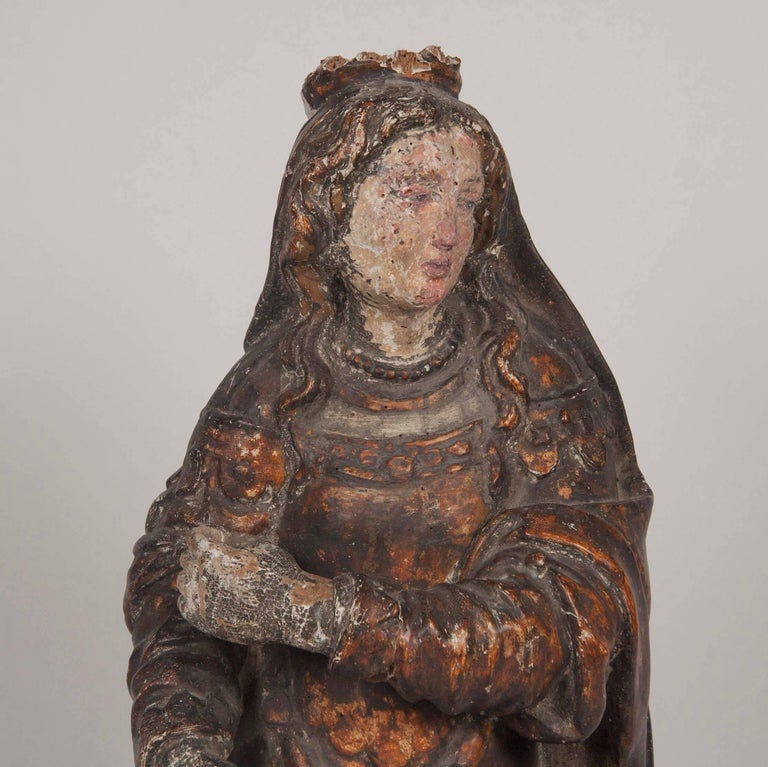 Italian renaissance carving of a female saint for sale at