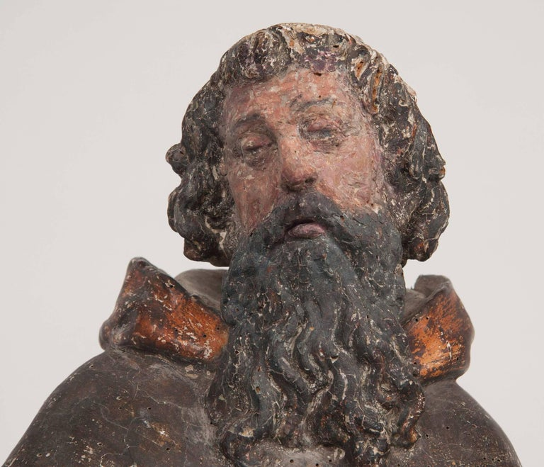 Hand-Painted Italian Renaissance Carving of a Male Saint For Sale