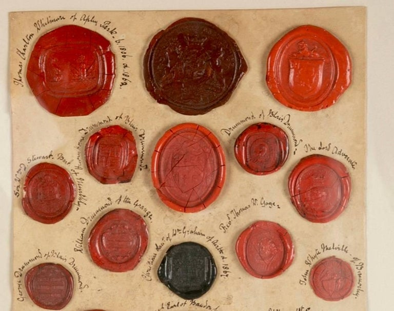 Regency Red Wax Intaglio Seal Collection with Scottish Coats of Arms For Sale