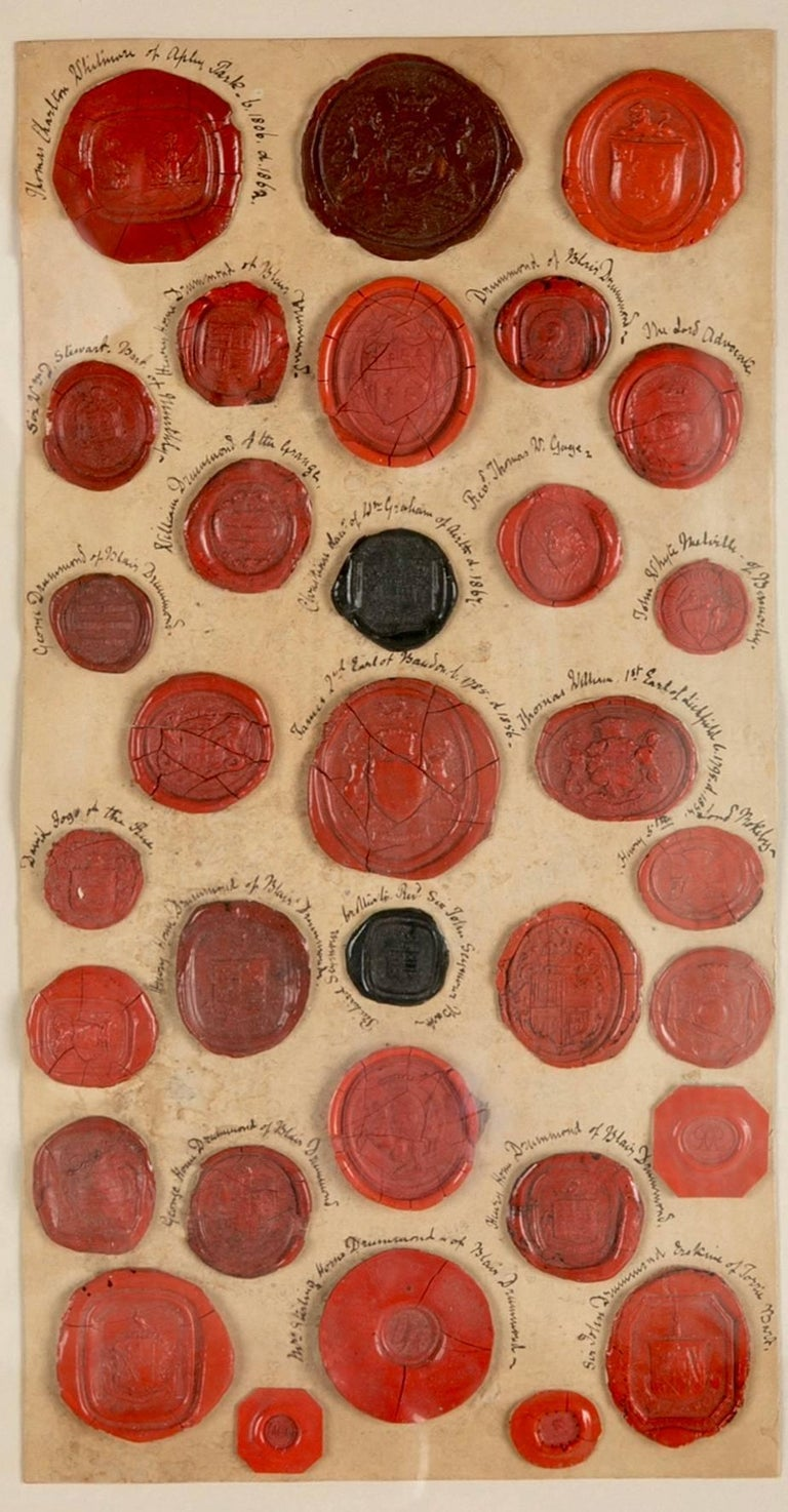 18th-19th century English and mostly Scottish collection of 33 red wax seals bearing the armorials and coats of arms of various personages. Many of the surname Drummond from Blair Drummond in Scotland. Each one a small piece of history from a time