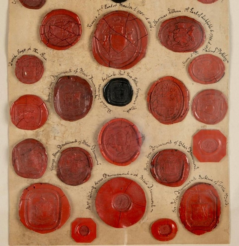 Red Wax Intaglio Seal Collection with Scottish Coats of Arms In Excellent Condition For Sale In Stamford, CT