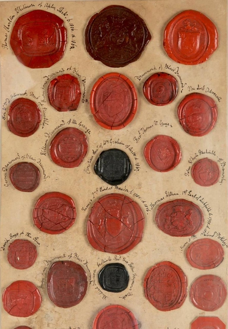 19th Century Red Wax Intaglio Seal Collection with Scottish Coats of Arms For Sale