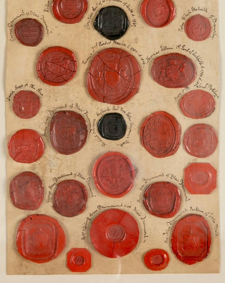 Red Wax Intaglio Seal Collection with Scottish Coats of Arms For Sale 1