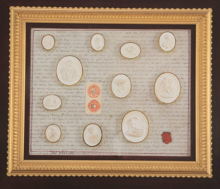 Italian Grand Tour Intaglios In A Custom Frame At 1stdibs