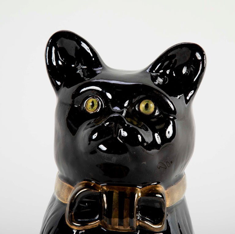 19th Century French Ceramic Black Cat For Sale