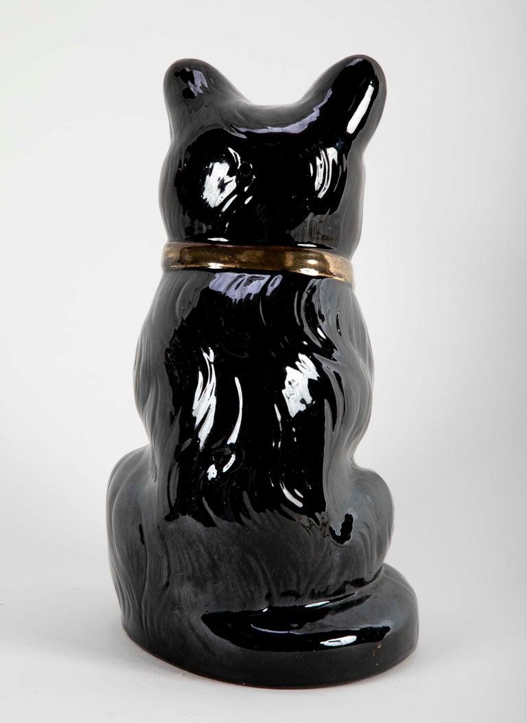 French Ceramic Black Cat For Sale 4