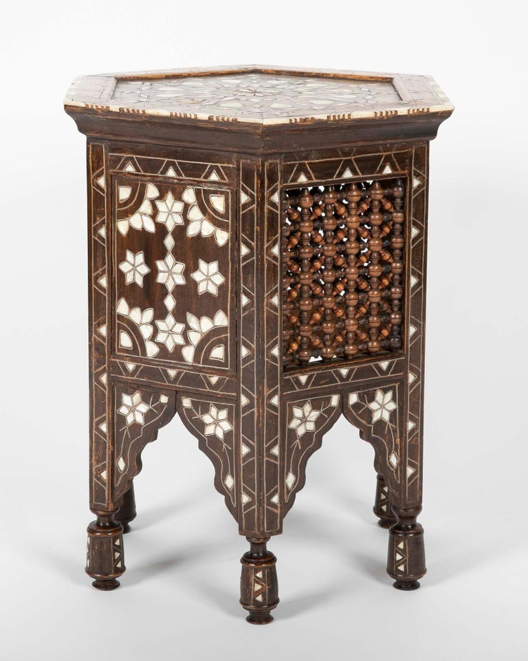 Moorish Ottoman Mother-of-Pearl and Bone Inlaid Side Table For Sale