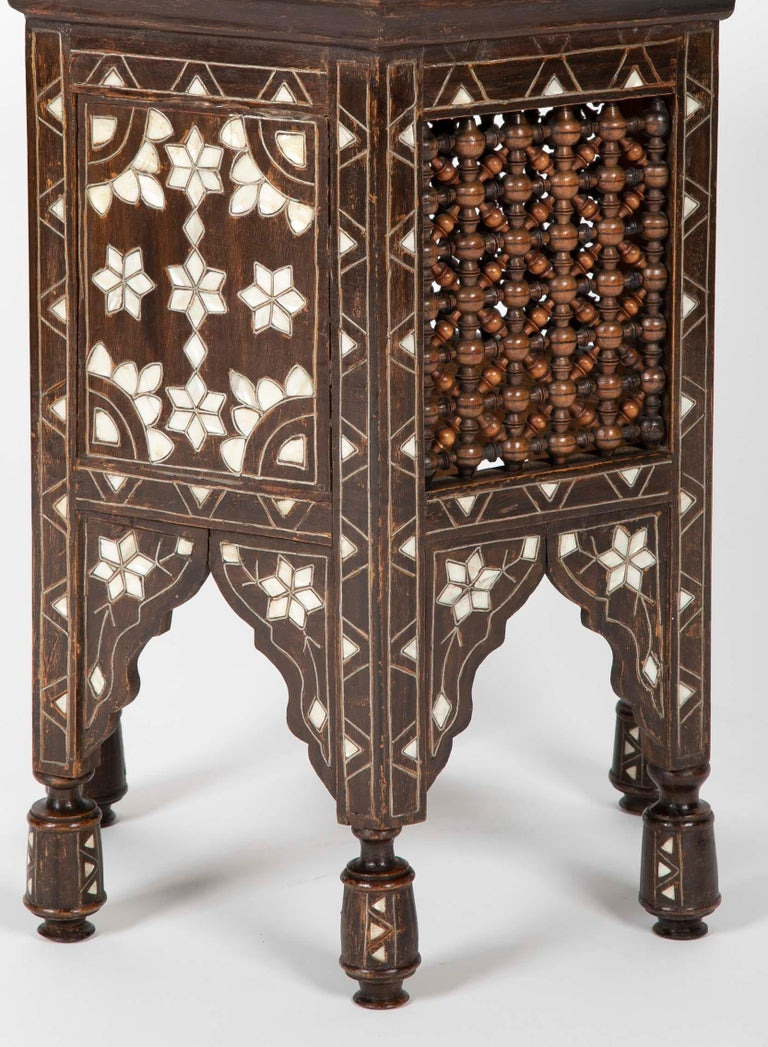 Turkish Ottoman Mother-of-Pearl and Bone Inlaid Side Table For Sale