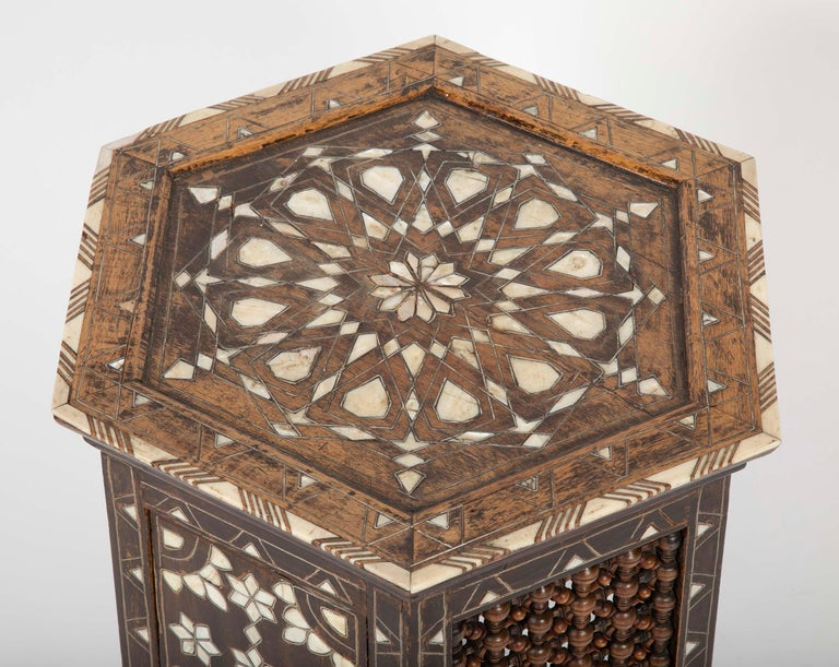 Inlay Ottoman Mother-of-Pearl and Bone Inlaid Side Table For Sale