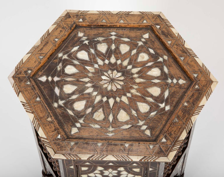 Ottoman Mother-of-Pearl and Bone Inlaid Side Table In Excellent Condition For Sale In Stamford, CT