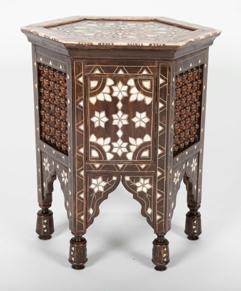 19th Century Ottoman Mother-of-Pearl and Bone Inlaid Side Table For Sale