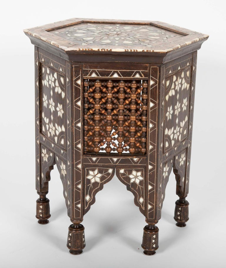 Ottoman Mother-of-Pearl and Bone Inlaid Side Table For Sale 2