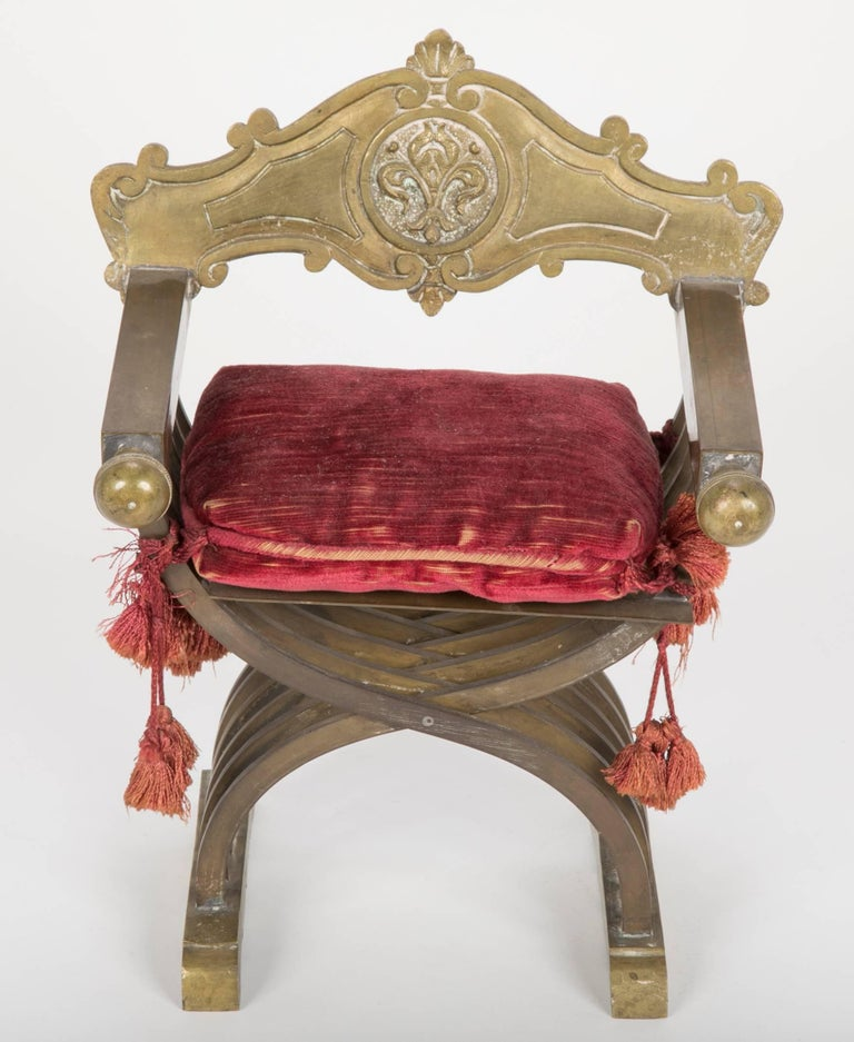 Renaissance Grand Tour Miniature Bronze Savonarola Chair For Sale