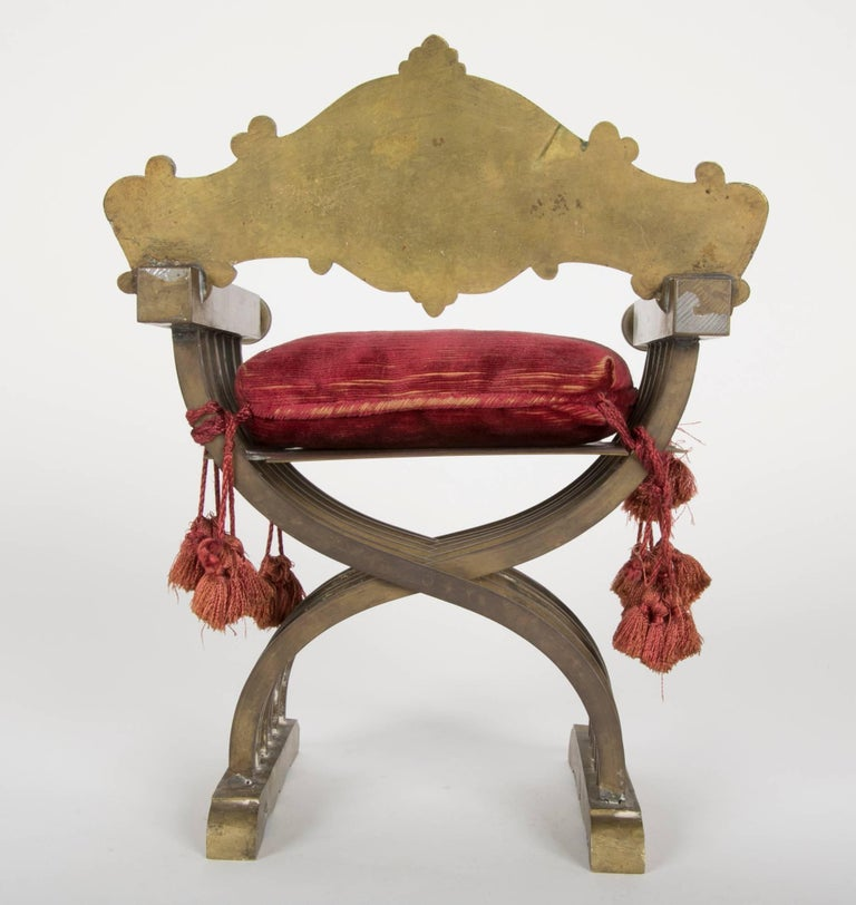 19th Century Grand Tour Miniature Bronze Savonarola Chair For Sale