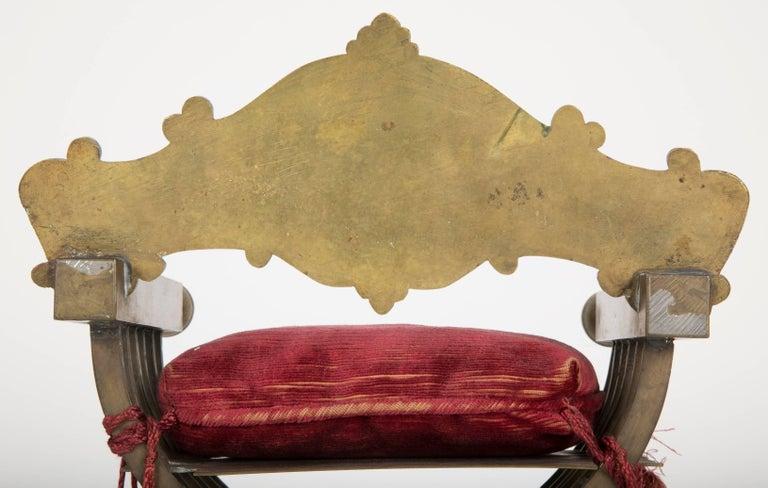 Grand Tour Miniature Bronze Savonarola Chair For Sale 1