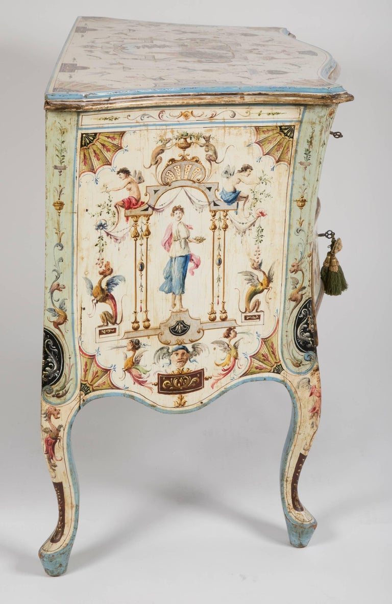 Venetian Rococo Hand Painted Chest Of Drawers For Sale At