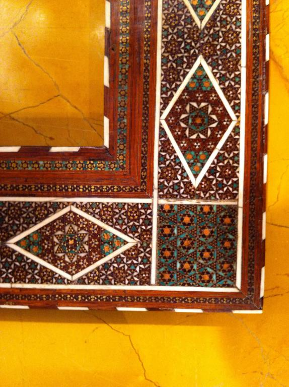 Finest quality Anglo-Indian (Indo-European) frame with exquisite detailed inlay of bone, brass, ebony, holly and various other hardwoods. The best of this type of micro mosaic inlay.   (Site 5 1/3 by 3 3/8 inches).