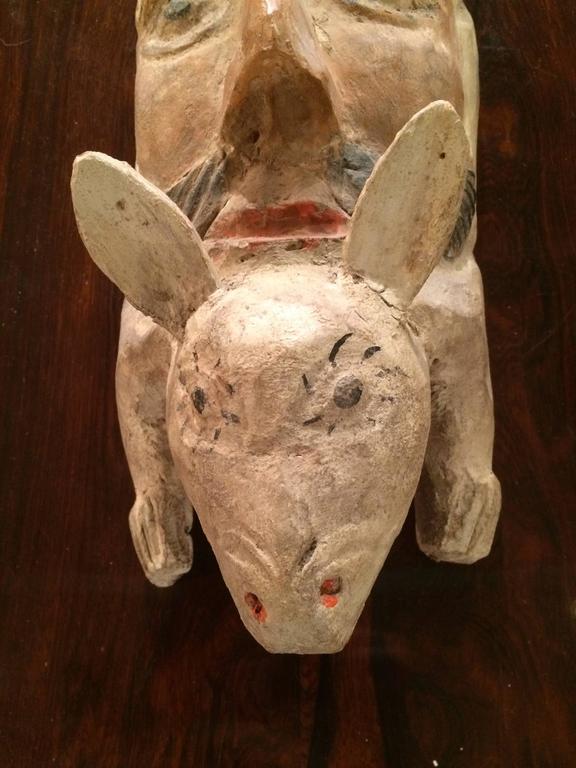 Hand Carved Folk Art Mask At 1stdibs