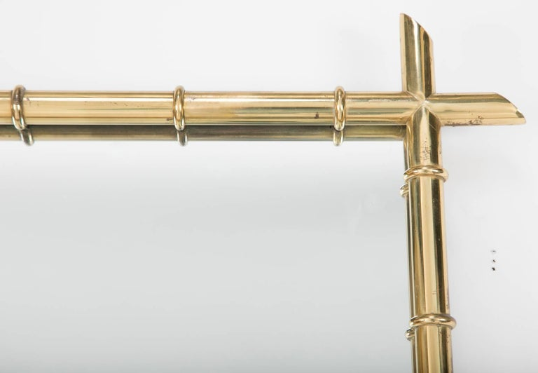 French Billy Haines Style Faux Bamboo Brass Mirror For Sale