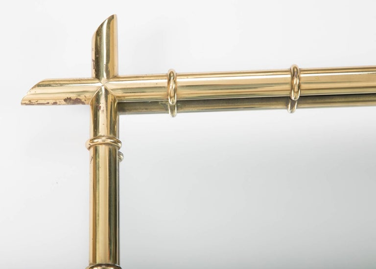 Billy Haines Style Faux Bamboo Brass Mirror In Excellent Condition For Sale In Stamford, CT