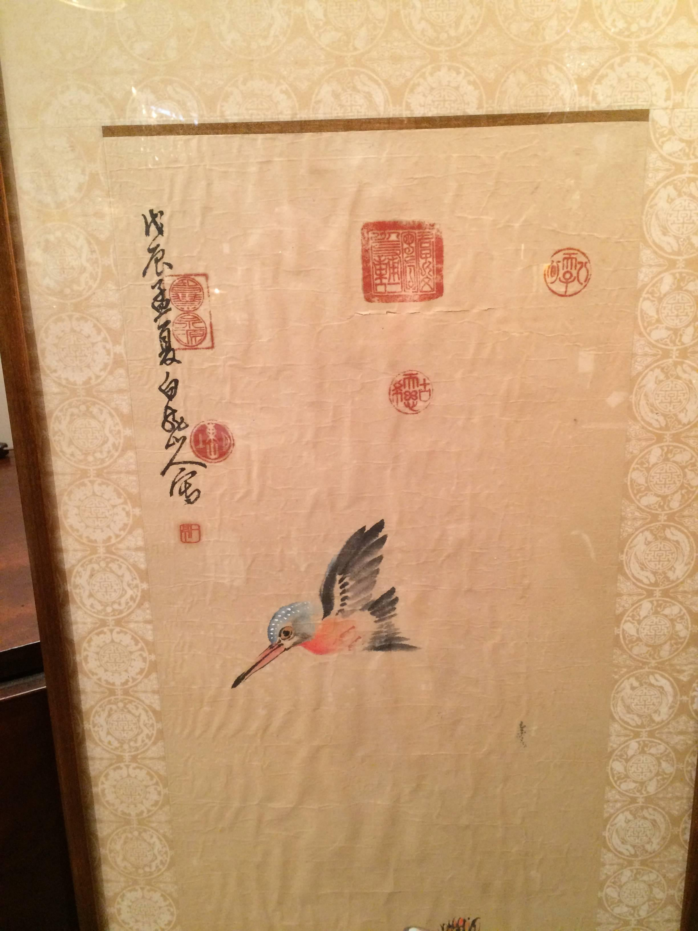 Chinese Scroll Painting of a Kingfisher and Lily Pads For Sale at ...