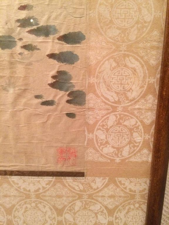 Chinese calligraphy scroll painting of a kingfisher for