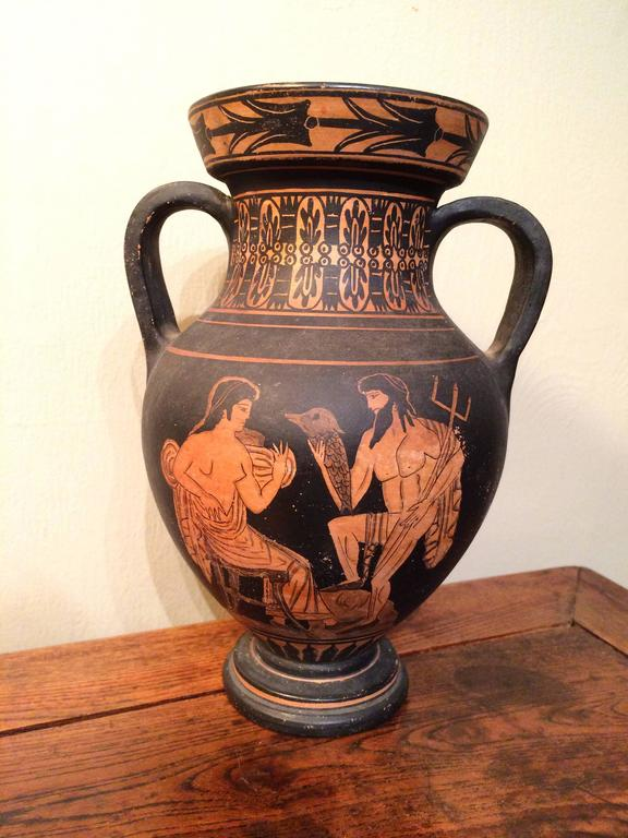 Painted Classical Style Greek Vase with Neptune For Sale