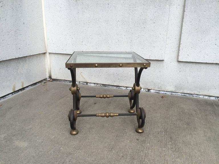 French Iron and Brass Side Table 9