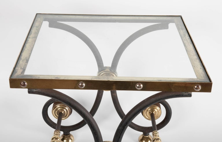 French Iron and Brass Side Table For Sale 1