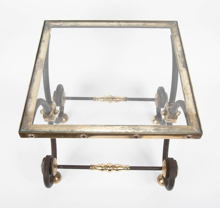 French Iron and Brass Side Table In Excellent Condition For Sale In Stamford, CT