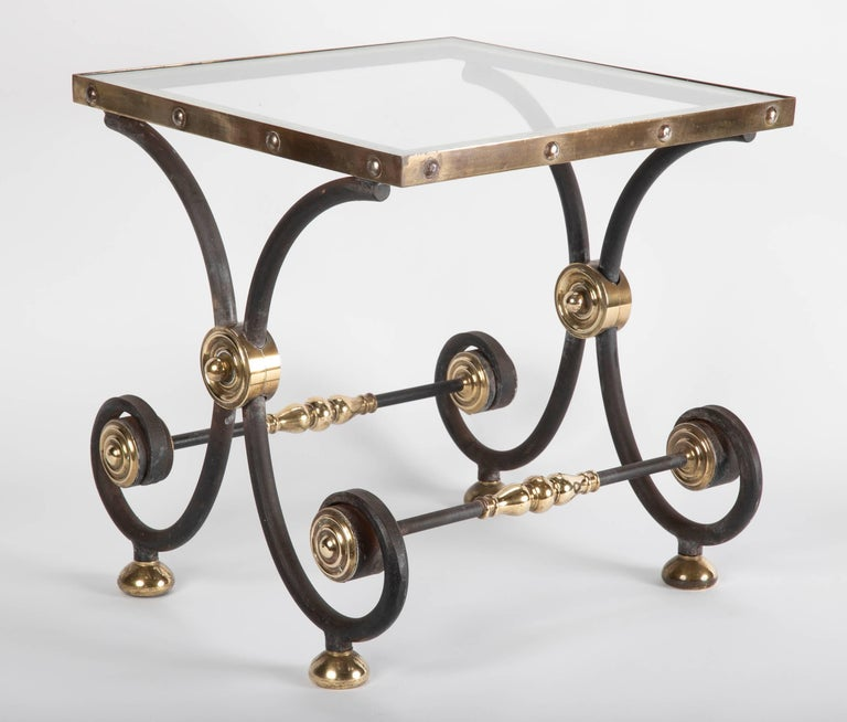 French Iron and Brass Side Table For Sale 7