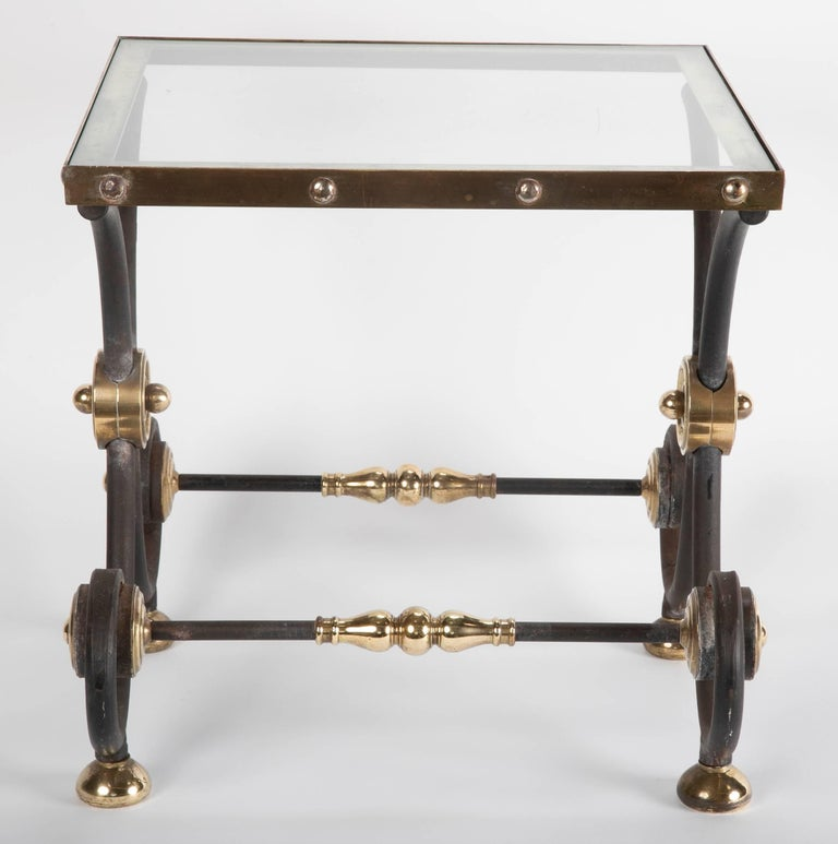 French Iron and Brass Side Table For Sale 8