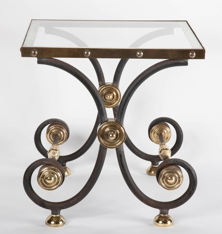 French Iron and Brass Side Table For Sale 10