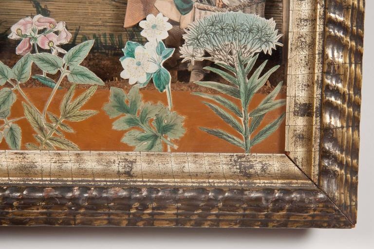 """Charming 18th century French diorama with hand colored copper plate engraving. In original shadowbox with gold leaf ripple frame. Though titled on the reverse """"Vue du College de Ste Marie et de Hotel de Ville d'Oxford,"""" (College of St"""
