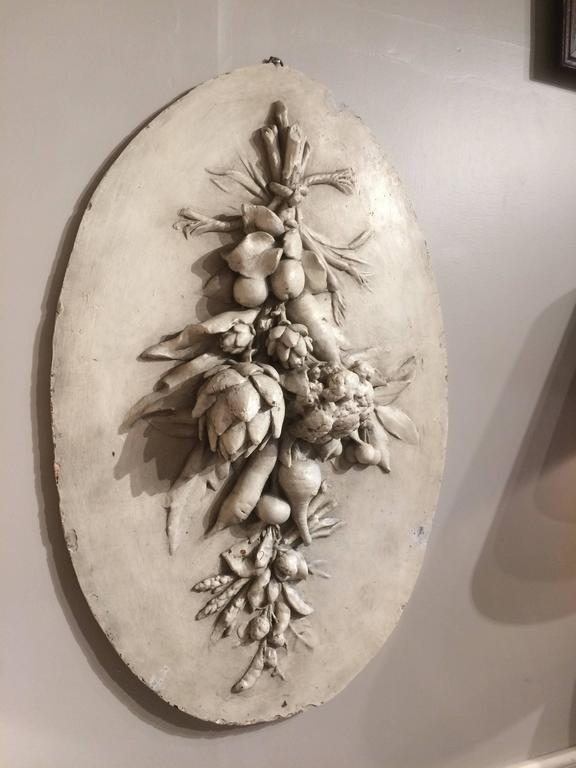 Large French Oval Plaster Relief Of Hanging Vegetables At