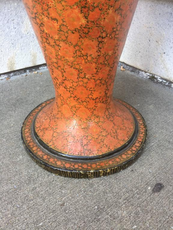 Anglo-Indian Red Lacquer Papier Mache Urn, Large Scale For Sale