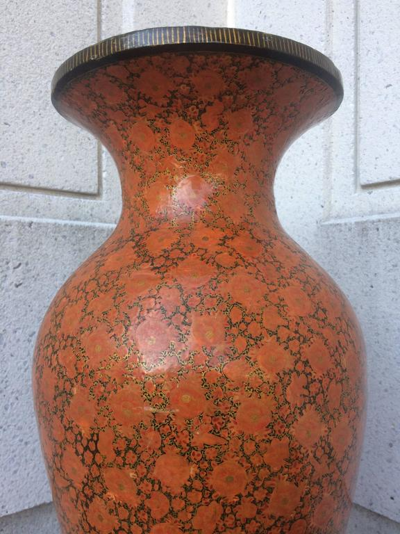 Indian Red Lacquer Papier Mache Urn, Large Scale For Sale