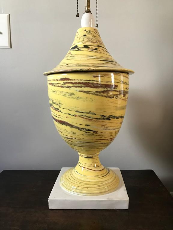 Italian Yellow Agateware Urn Form Pottery Lamp For Sale 1