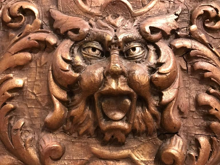 Italian Gilt Gesso Relief Of The Green Man For Sale At