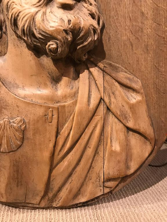 17th Century Carved Relief of Saint James, Lifesize In Excellent Condition For Sale In Stamford, CT