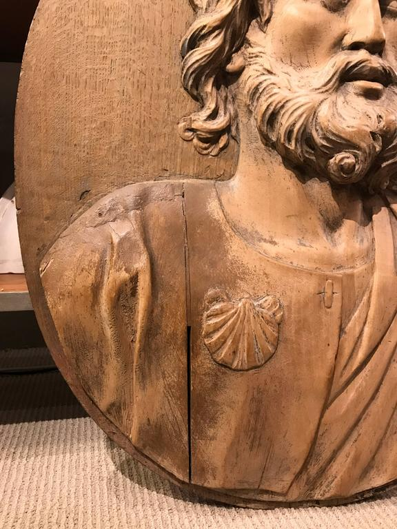 17th Century Carved Relief of Saint James, Lifesize For Sale 1