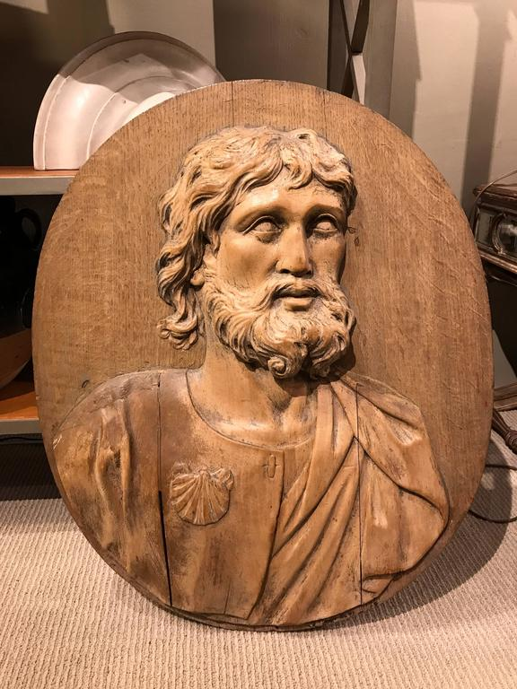 17th Century Carved Relief of Saint James, Lifesize For Sale 2