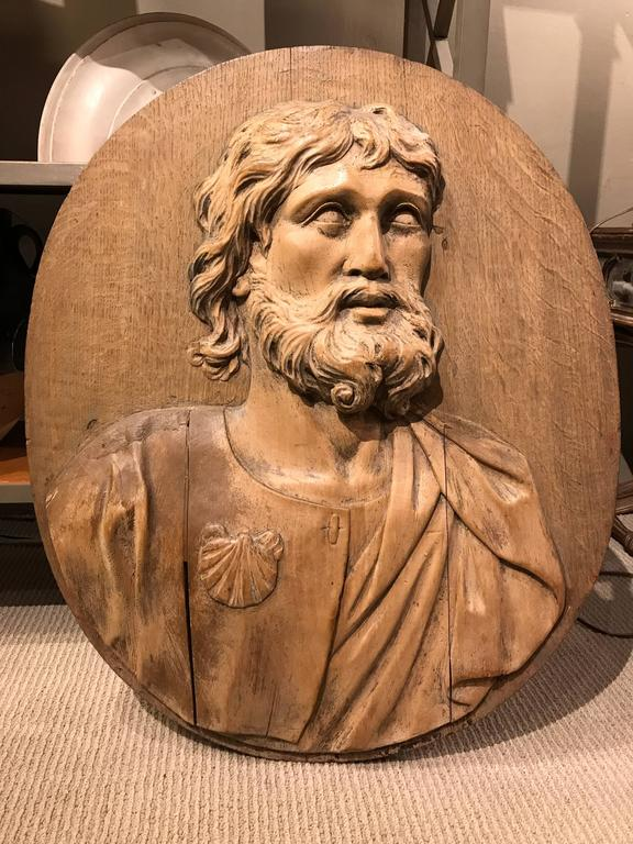 17th Century Carved Relief of Saint James, Lifesize For Sale 4